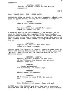 Page from a screenplay
