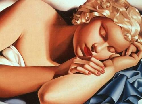 """Sleeping Woman"" oil painting by Tamara de Lempicka"