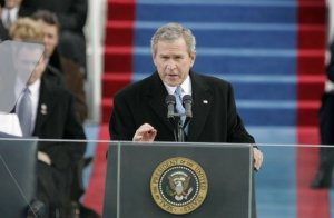 President George W. Bush delivering his second inaugural speech