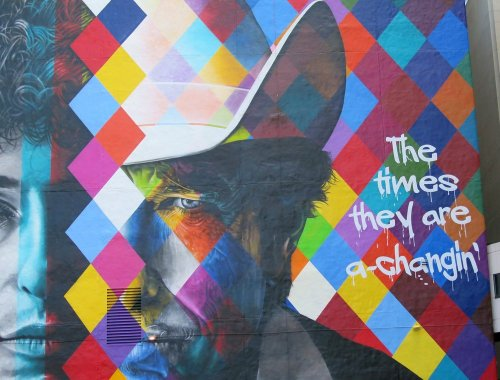 Part of Bob Dylan mural in downtown Minneapolis (photo: Tom Sweeney, Star Tribune)